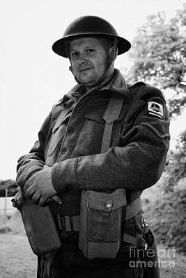 reinactor in dress of london irish rifles world war 2 WW2 uniform at Grey Point Fort Helens Bay Coun Art Print by Joe Fox