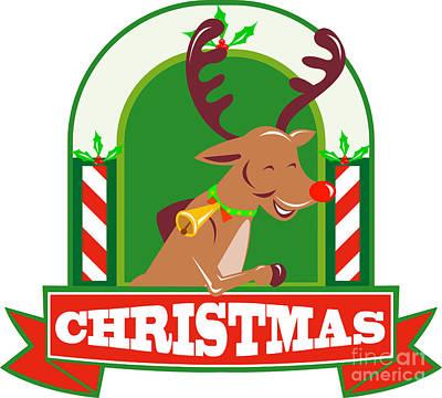 Yule Digital Art - Reindeer Deer Stag Buck Christmas by Aloysius Patrimonio