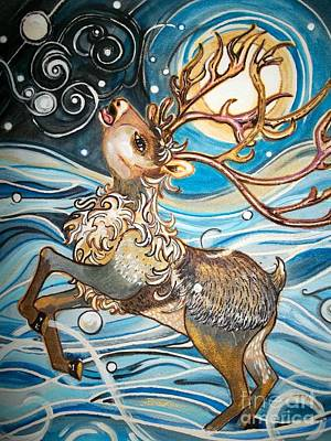 Snow Drifts Painting - Reindeer - Free Spirited -  Snowflakes by M E Wood