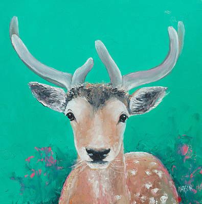 Fallow Deer Painting - Reindeer  by Jan Matson