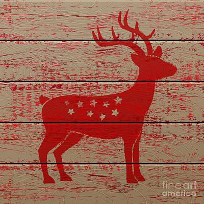 Red Digital Art - Reindeer On Old Wooden Background by Serazetdinov