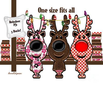 Reindeer Pjs - 3 Bucks Art Print