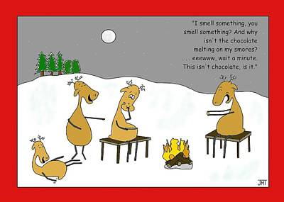 Reindeer Smores Christmas Card Original by Manly Thweatt
