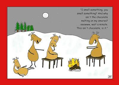 Reindeer Smores Christmas Card Art Print by Manly Thweatt