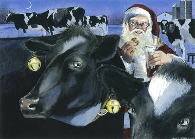 Santa Claus Painting - Reindeer Wannabes by Denny Bond
