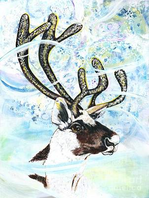 Special Occasion Painting - Reindeer - Winter Snow Storm by M E Wood