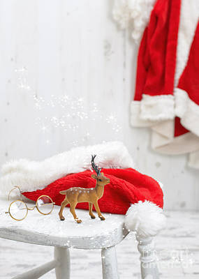 Reindeer With Santa Hat Art Print