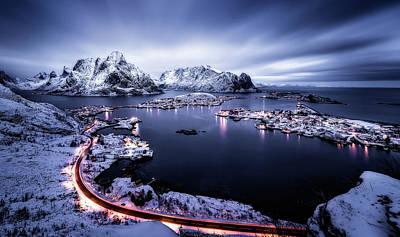 Winter Roads Photograph - Reine Blue Hour by Javier De La