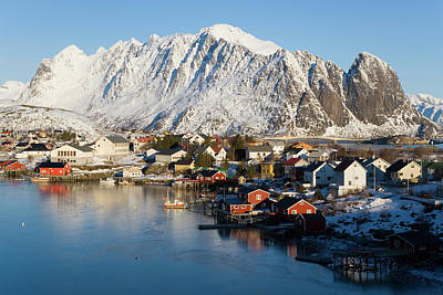 Reine Village In Winter, Lofoten Art Print by Peter Adams