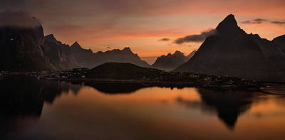 Sunset In Norway Photograph - Reine Village With Dark Mountains by Panoramic Images
