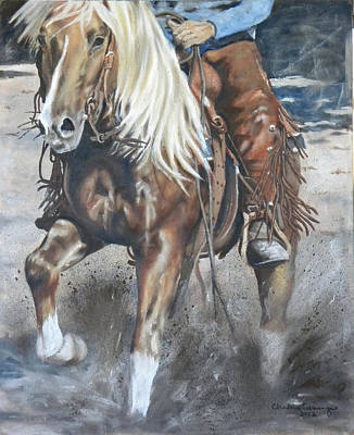 Horse In Action Painting - Reining In The Gold by Charlene Cummings
