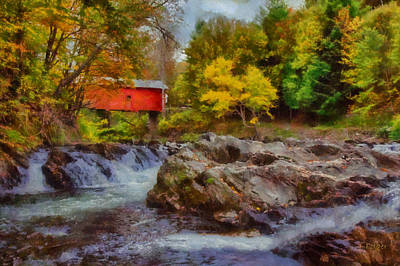 Photograph - River Runs Under Slaughter House Covered Bridge by Jeff Folger