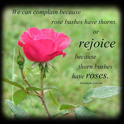 Politicians Photograph - Rejoice For The Roses by Julia Ostara From Thrive True dot com