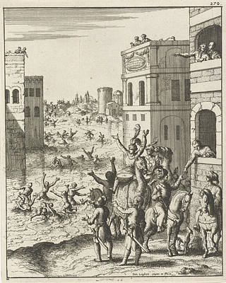 Rejoicing Drawing - Rejoicing Of The People In Cairo, Egypt, Print Maker Jan by Jan Luyken And Jan Luyken And Jan Bouman