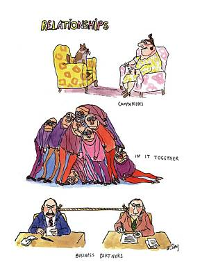 Women Together Drawing - Relationships by William Steig