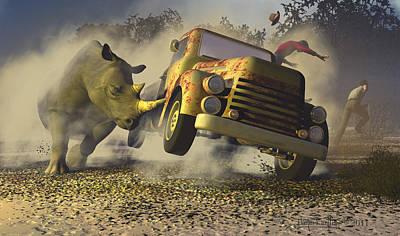 Rhinoceros Digital Art - Relative Mass by Dieter Carlton