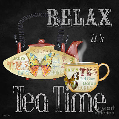 Teapot Mixed Media - Relax-tea Time-jp2627 by Jean Plout