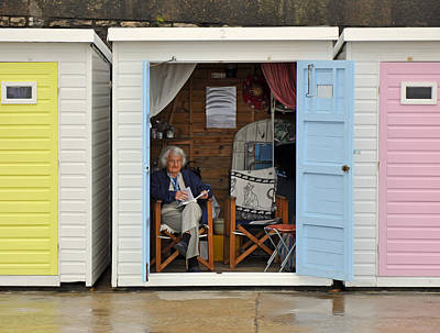 Photograph - Relaxed And Reading In Beach Hut Lyme Regis by Nop Briex