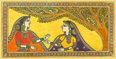 Madhubani Painting - Relaxed Conversation by Kalpana Tamboli