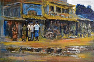 Cycles Painting - Relaxed In Lungi by Usha Shantharam