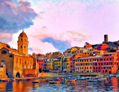 Relaxing Around Vernazza Art Print