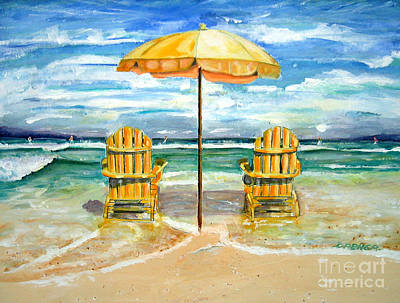 Painting - Relaxing At The Beach by Chris Dreher