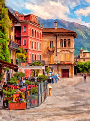 Outdoor Cafe Painting - Relaxing In Baveno by Michael Pickett