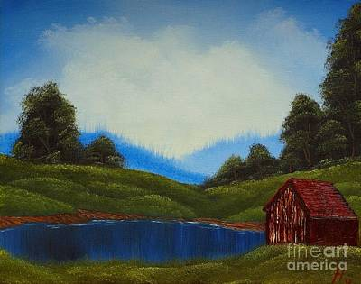 Branch Hill Pond Painting - Relaxing In The Hills by Nature's Effects - Heather Seward