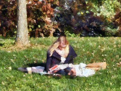 Paper Bags Photograph - Relaxing In The Park by Susan Savad