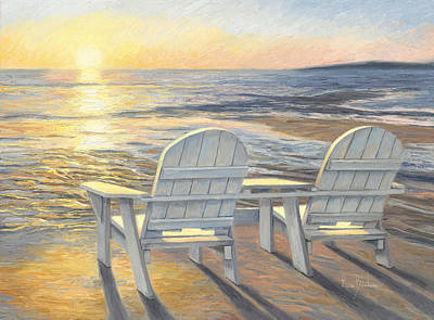 Adirondacks Painting - Relaxing Sunset by Lucie Bilodeau
