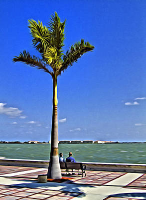 Relaxing Under A Palm Art Print by Patrick M Lynch