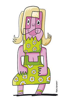 Relaxing Woman Doodle Character Art Print