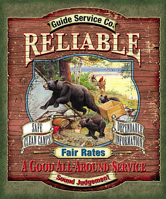 Fishing Painting - Reliable Guide Service Sign by JQ Licensing