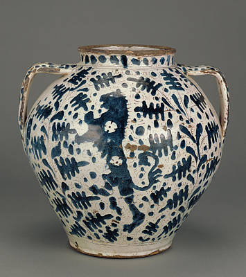 Relief-blue Jar With Rampant Lions Unknown Florence Probably Art Print