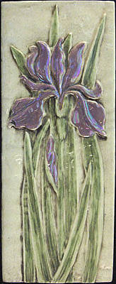 Ceramic Relief - Relief Carved Ceramic Iris by Shannon Gresham