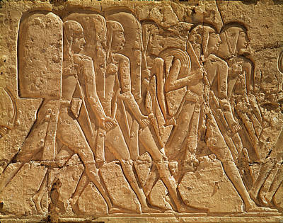 Relief Depicting Servants Carrying Rope And Weapons, From The Mortuary Temple Of Ramesses IIi Art Print by Egyptian 20th Dynasty