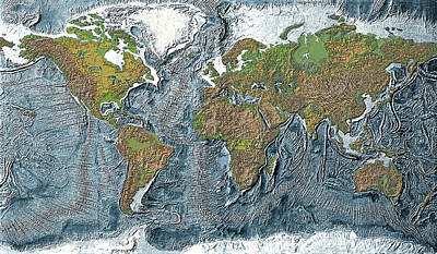 Trench Digital Art - Relief Map Of The Earth by Carol and Mike Werner