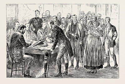 Potato Drawing - Relief Of Irish Distress Applying For Seed Potatoes by English School