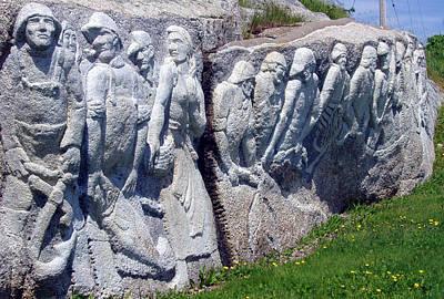 Relief Sculpture At Peggy's Cove Art Print by Brenda Anne Foskett