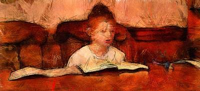 Drawing - Religious Boy Learning With Book Old World Study Education Library  by MendyZ