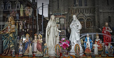 Religious Figurines In Window Display In Toronto Art Print by Randall Nyhof