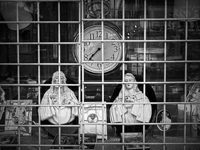 Photograph - Religious Figurines With Clock by Randall Nyhof