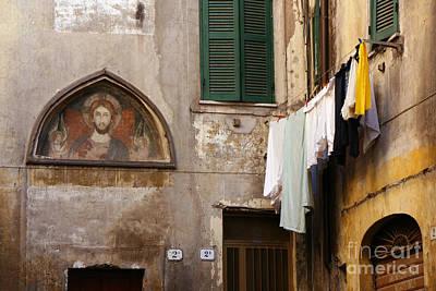 Religious Icon And Laundry Art Print