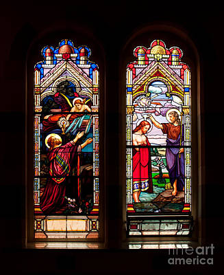 Beaches And Waves Rights Managed Images - Religious stained windows Royalty-Free Image by Les Palenik