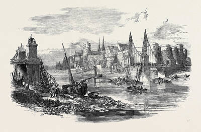 Suspension Drawing - Remains Of The Suspension Bridge At Angers by English School
