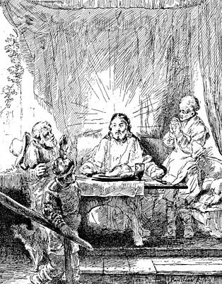 Jesus Christ Drawing - Rembrandt Etching Supper At Emmaus by