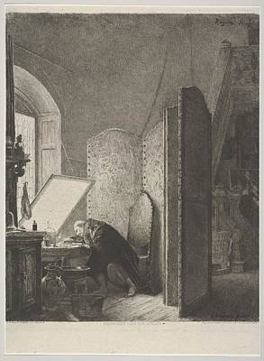 Rajon Drawing - Rembrandt In His Studio by Paul Adolphe Rajon