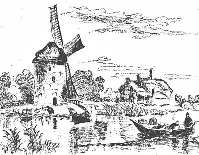 Pen And Ink Drawing Drawing - Rembrandt Mill Drawing by