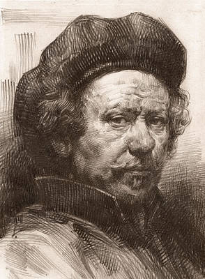 Drawing - Rembrandt Portrait 1 by Behzad Sohrabi