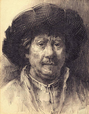 Drawing - Rembrandt Portrait2 by Behzad Sohrabi